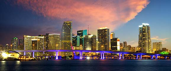 Miami Florida holiday skyline